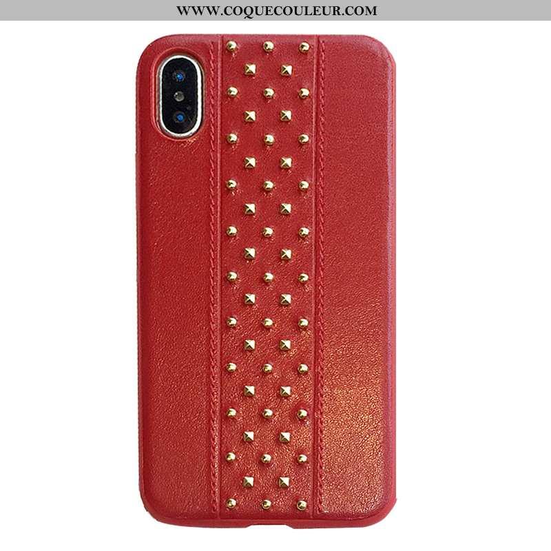 Housse iPhone X Protection Tendance Mode, Étui iPhone X Métal Simple Rouge
