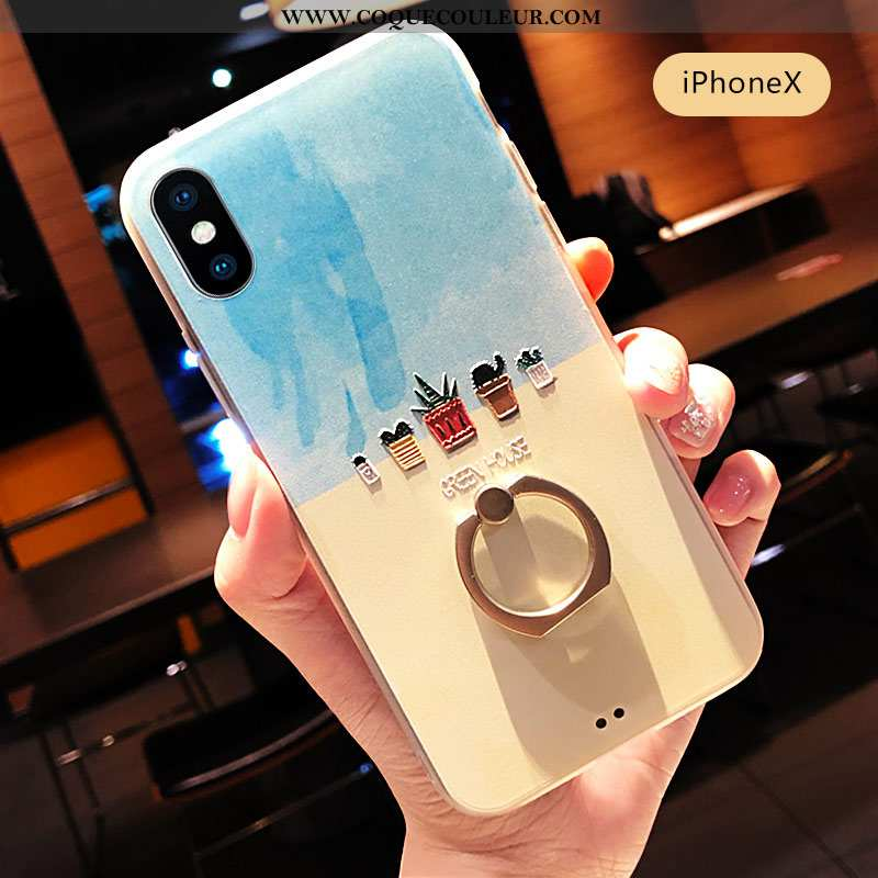 Coque iPhone X Personnalité Petit Téléphone Portable, Housse iPhone X Créatif Incassable Bleu