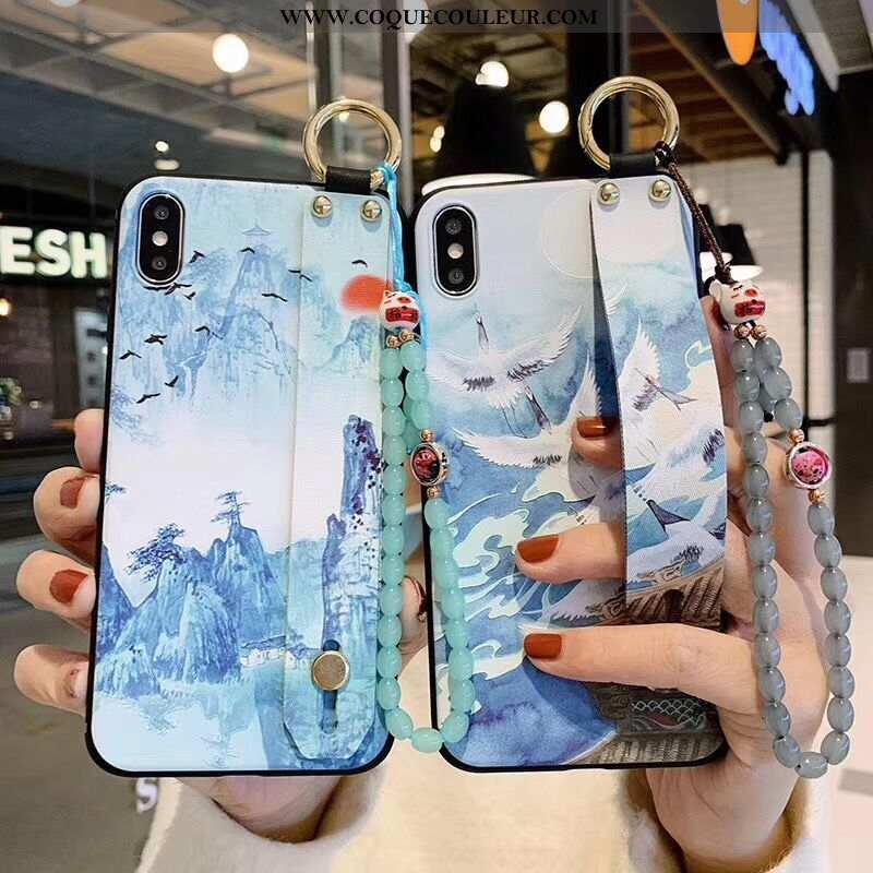 Étui iPhone X Élégant Silicone Protection, Coque iPhone X Fluide Doux Style Chinois Bleu