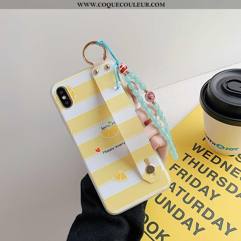 Coque iPhone X Protection Support Frais, Housse iPhone X Délavé En Daim Bracelet Jaune