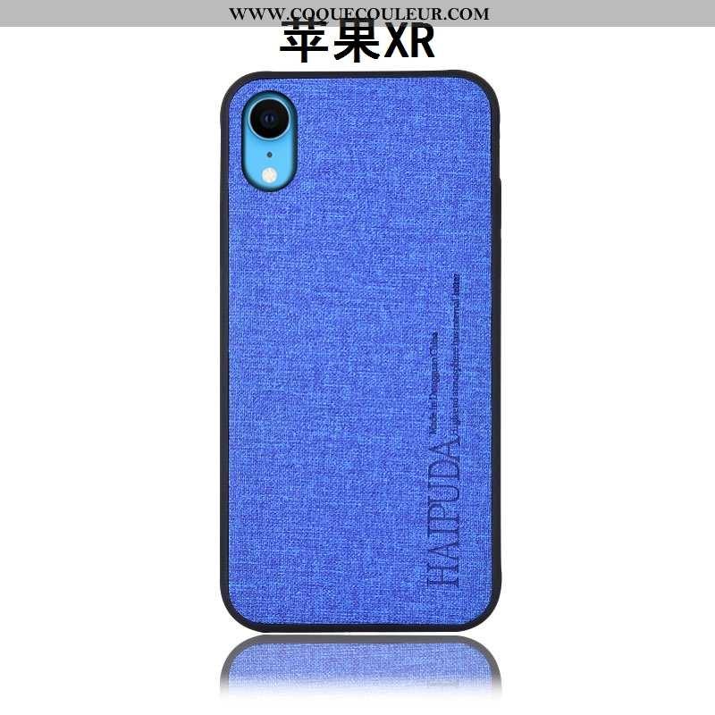 Étui iPhone Xr Protection Silicone Incassable, Coque iPhone Xr Cuir Lin Bleu