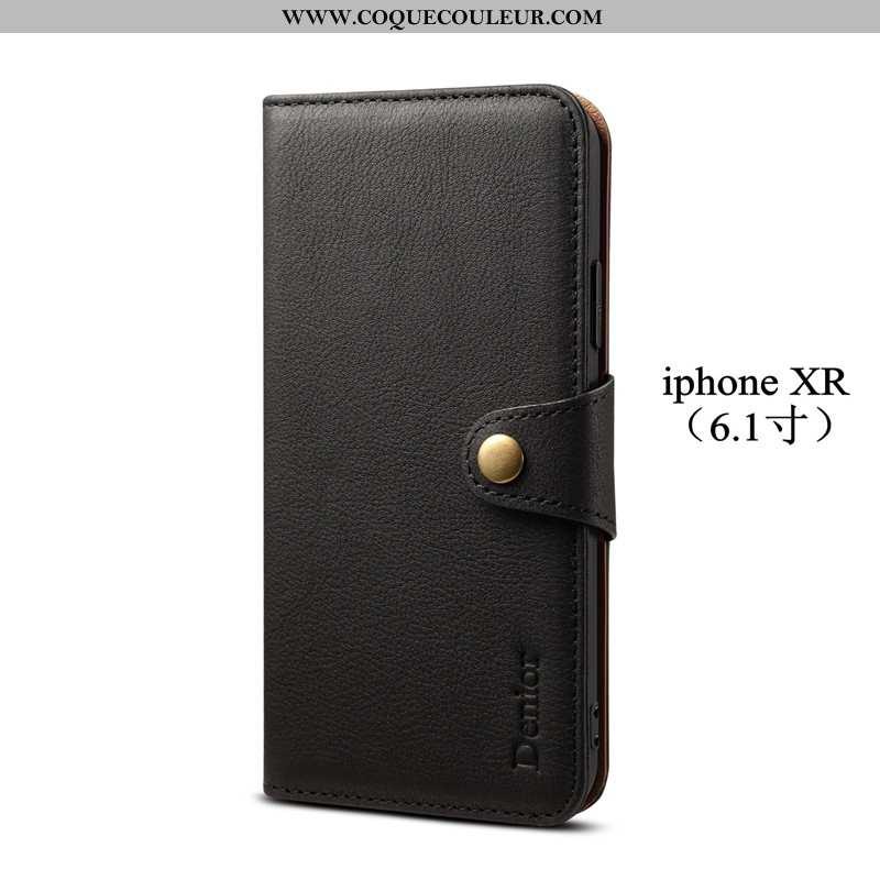 Coque iPhone Xr Protection Noir Téléphone Portable, Housse iPhone Xr Cuir Bovins