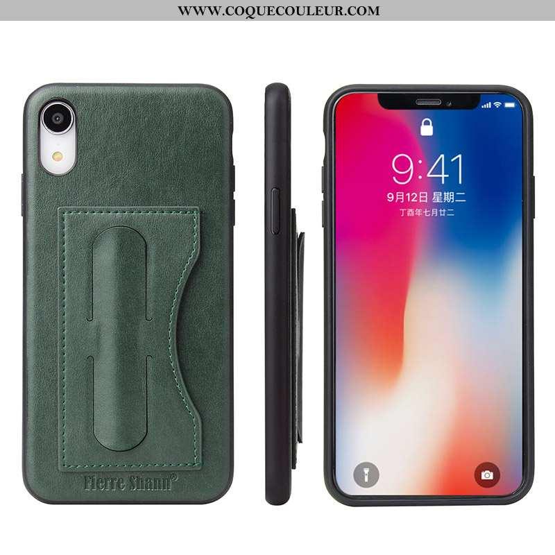 Housse iPhone Xr Cuir Vert Protection Contre Les Explosions, Étui iPhone Xr Protection Carte Turquoi