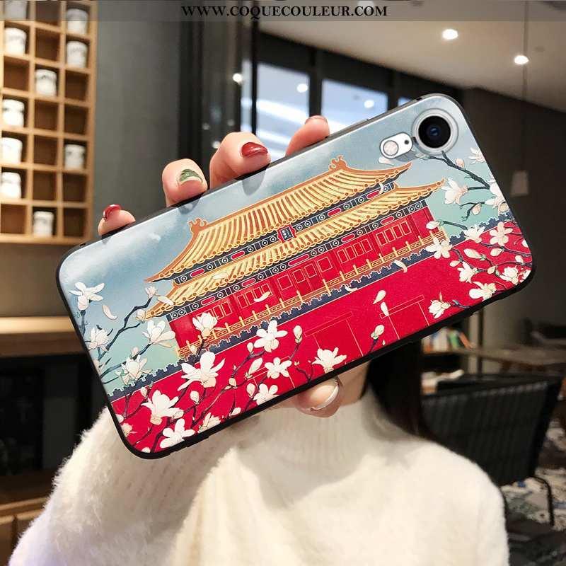 Coque iPhone Xr Gaufrage Nouveau Téléphone Portable, Housse iPhone Xr Fluide Doux Rouge