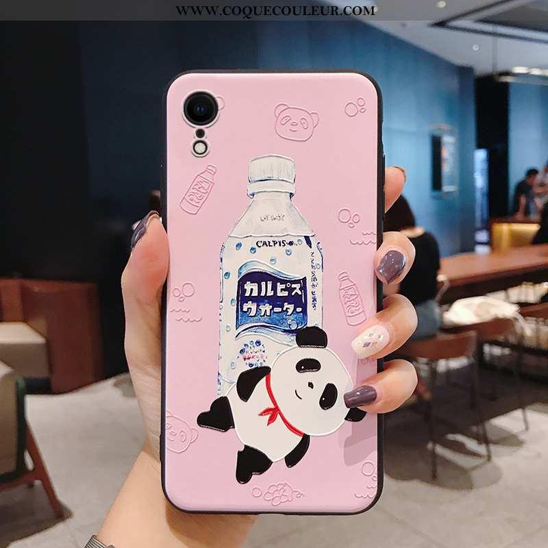 Étui iPhone Xr Silicone Rose Charmant, Coque iPhone Xr Personnalité Incassable