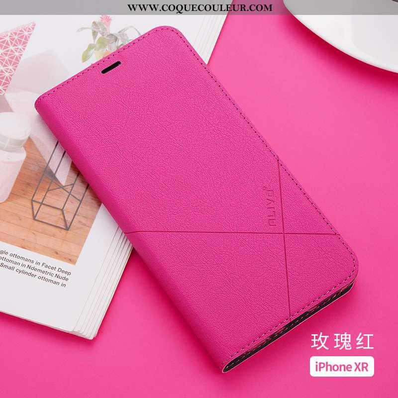 Housse iPhone Xr Cuir Incassable Légère, Étui iPhone Xr Fluide Doux Rouge Rose
