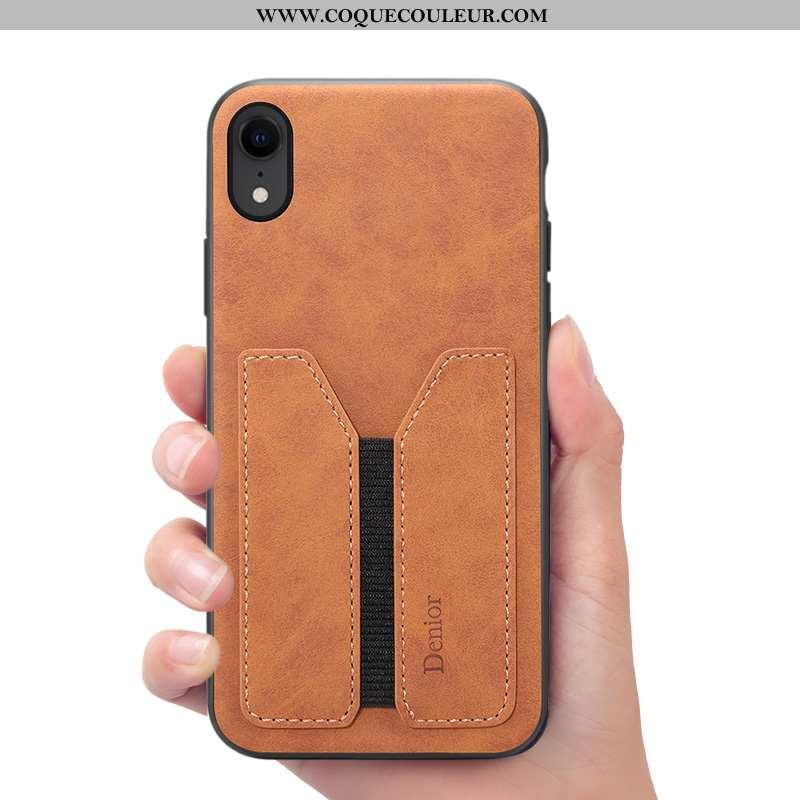Coque iPhone Xr Cuir Étui, Housse iPhone Xr Portefeuille Téléphone Portable Marron