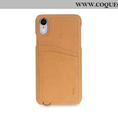 Housse iPhone Xr Cuir Téléphone Portable Authentique, Étui iPhone Xr Coque Marron