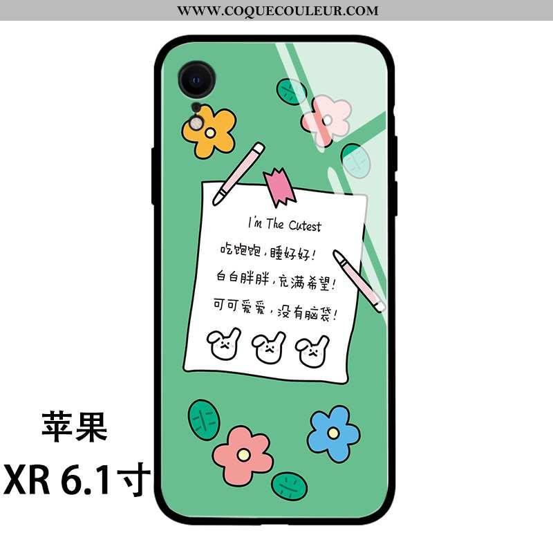 Étui iPhone Xr Fluide Doux Charmant Verre, Coque iPhone Xr Silicone Dessin Animé Verte