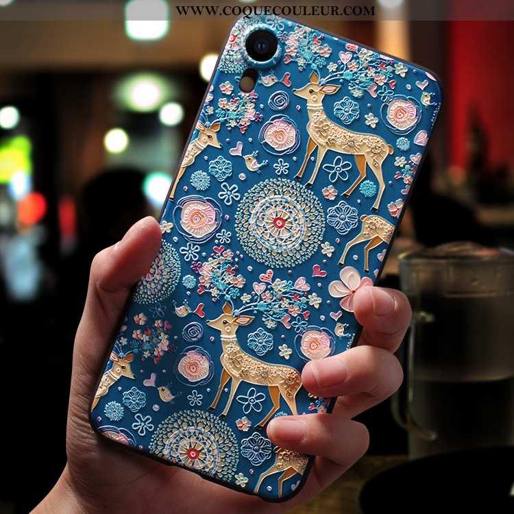 Housse iPhone Xr Créatif Bleu Délavé En Daim, Étui iPhone Xr Dessin Animé Net Rouge
