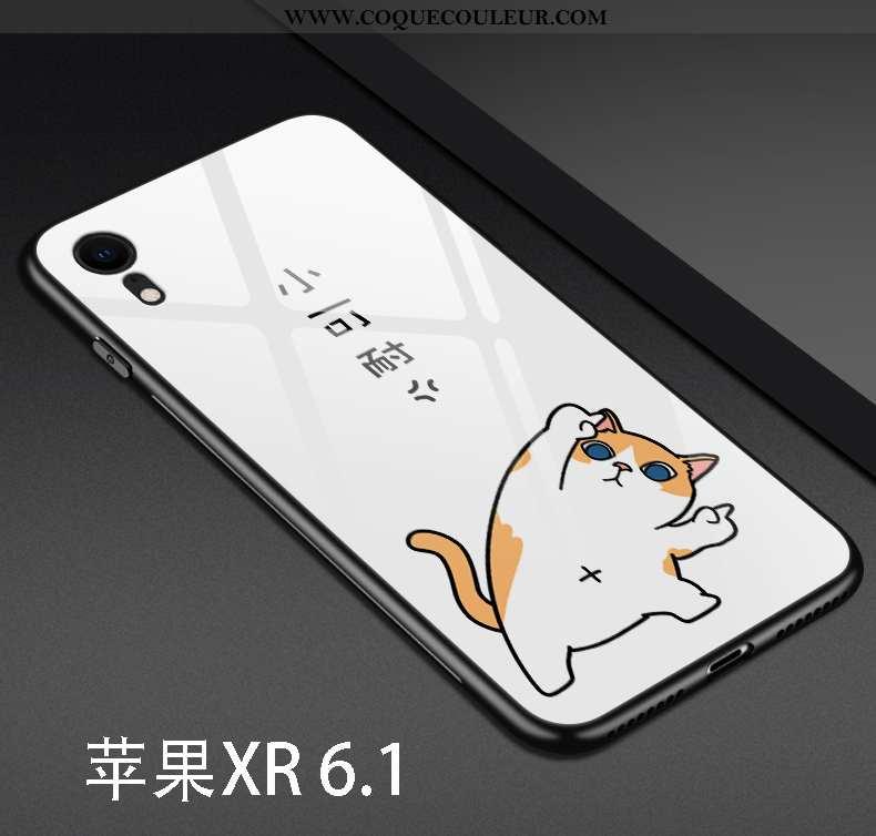 Étui iPhone Xr Silicone Téléphone Portable Dessin Animé, Coque iPhone Xr Verre Net Rouge Blanche