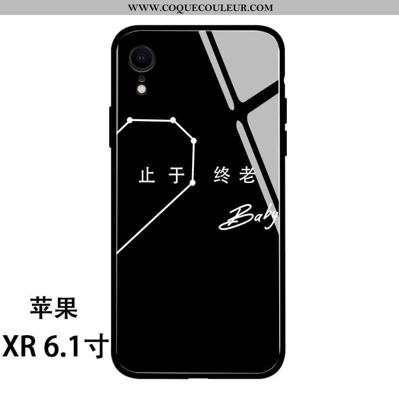 Housse iPhone Xr Silicone Coque Tendance, Étui iPhone Xr Verre Net Rouge Noir