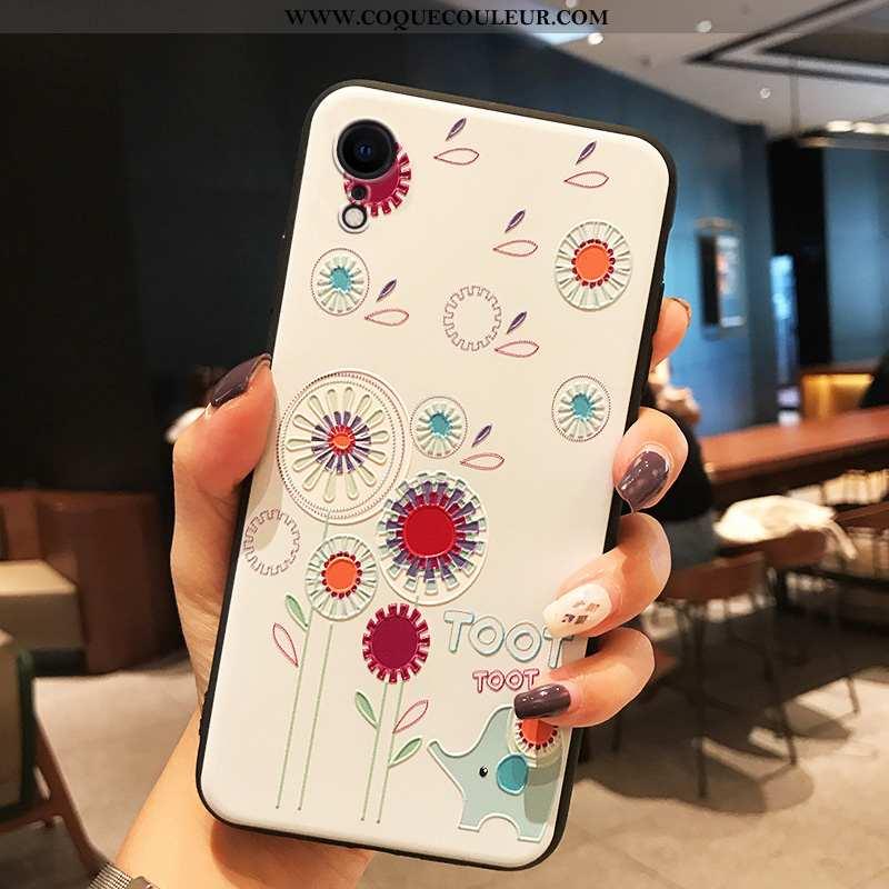 Coque iPhone Xr Silicone Légère Blanc, Housse iPhone Xr Délavé En Daim Tendance Blanche