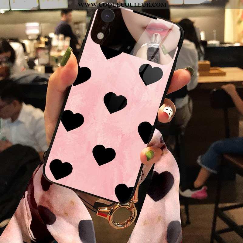 Housse iPhone Xr Verre Rose Coque, Étui iPhone Xr Tendance Téléphone Portable