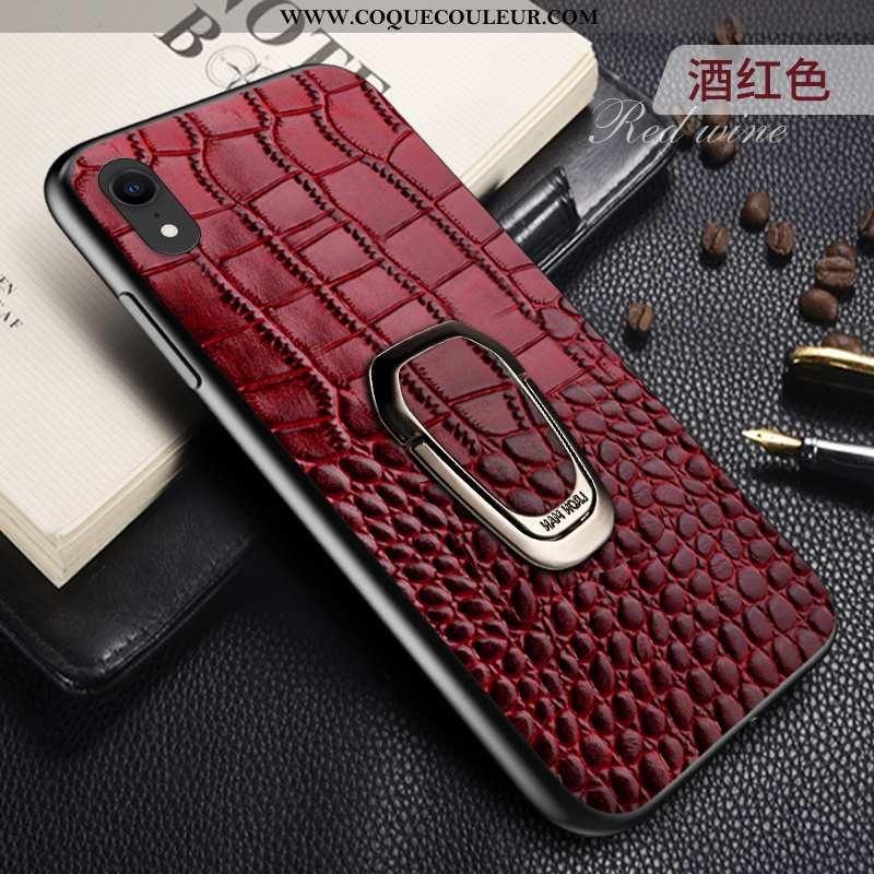 Housse iPhone Xr Cuir Qualité Incassable, Étui iPhone Xr Protection Bordeaux
