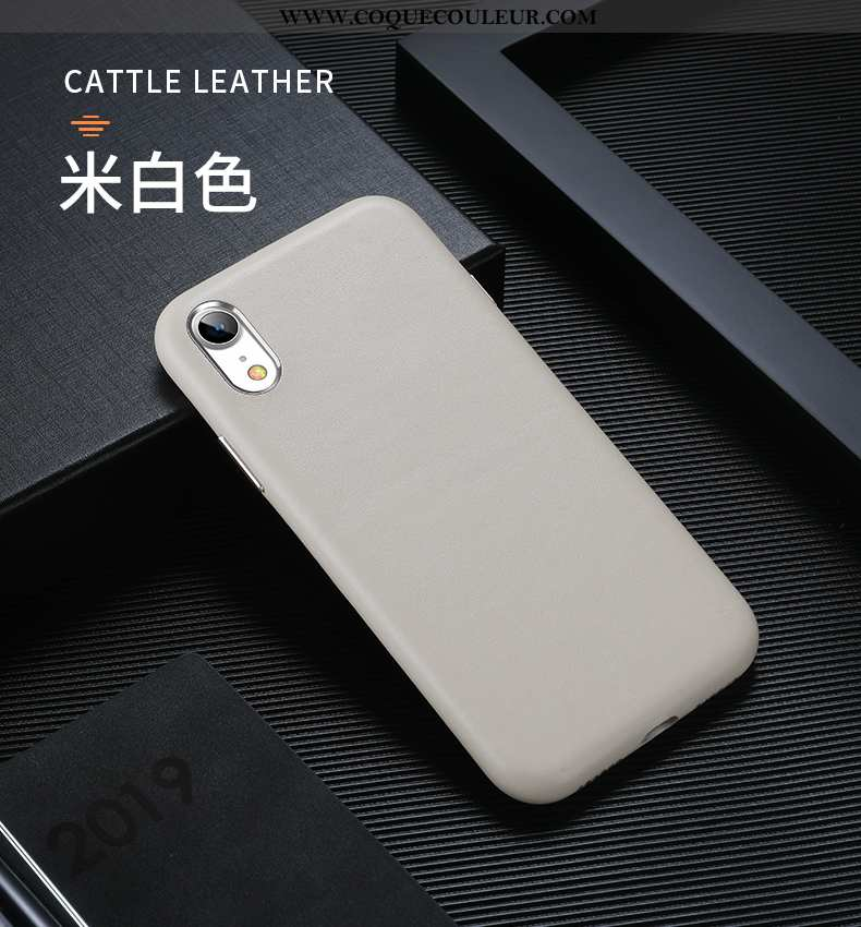 Coque iPhone Xr Créatif Protection Net Rouge, Housse iPhone Xr Cuir Véritable Luxe Beige