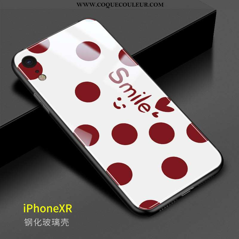 Coque iPhone Xr Mode Point D'onde Amoureux, Housse iPhone Xr Verre Rouge