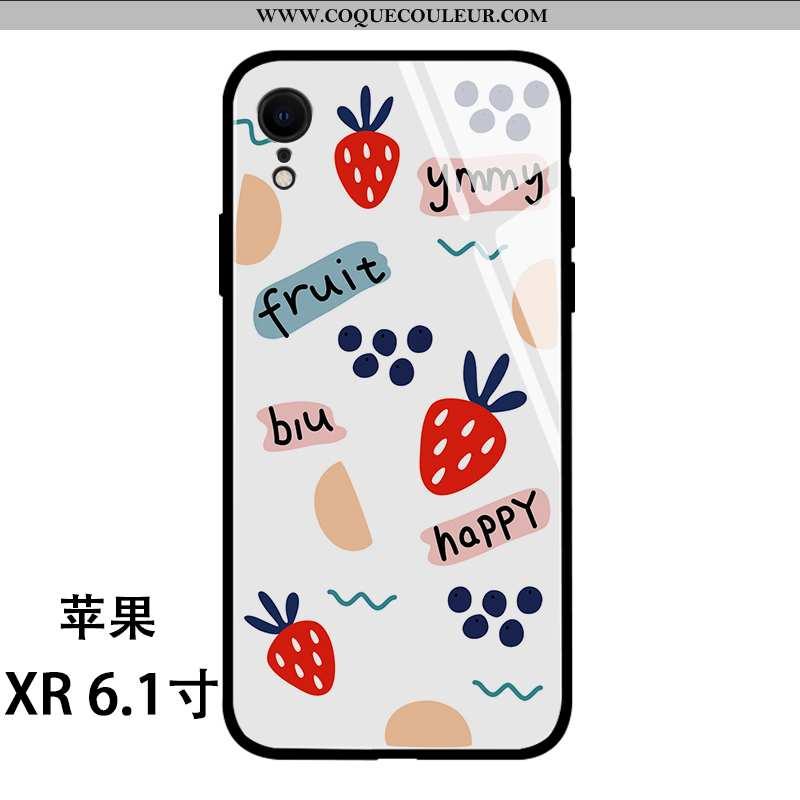 Coque iPhone Xr Silicone Fraise Miroir, Housse iPhone Xr Verre Frais Blanche