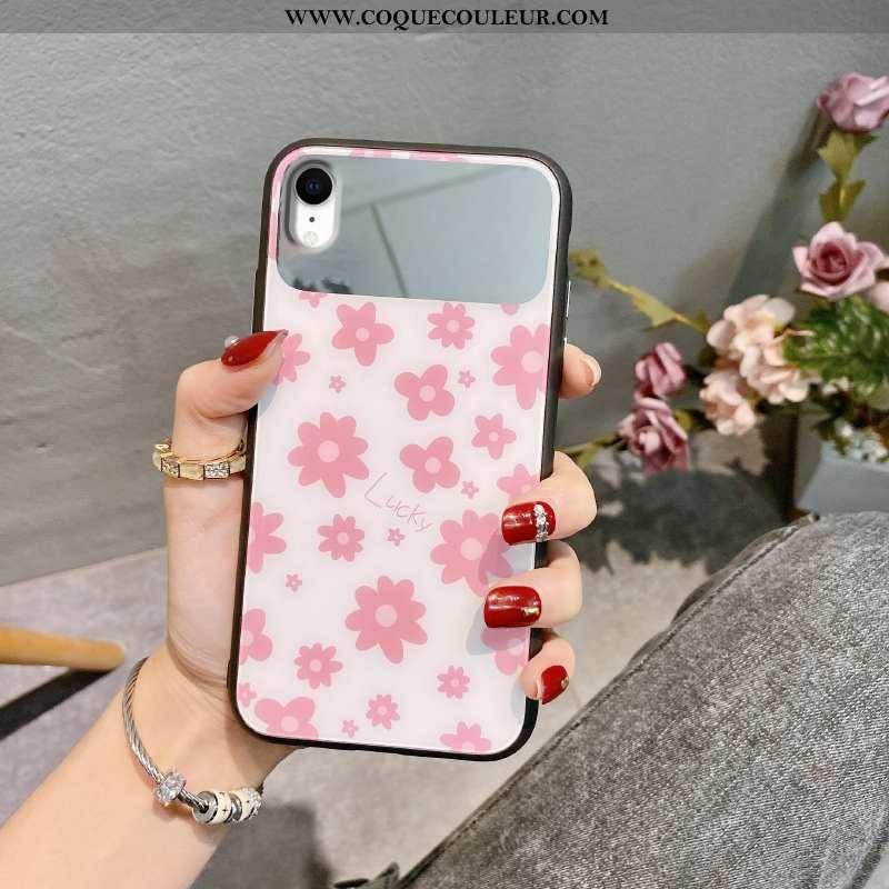 Housse iPhone Xr Créatif Fleurs Incassable, Étui iPhone Xr Silicone Téléphone Portable Rose