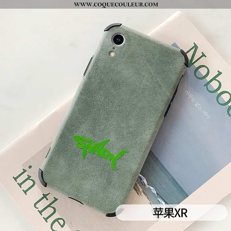 Étui iPhone Xr Légère Simple Net Rouge, Coque iPhone Xr Cuir Cerf Verte