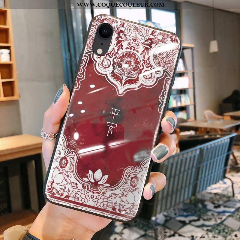 Coque iPhone Xr Silicone Tout Compris Rouge, Housse iPhone Xr Verre Style Chinois Rouge