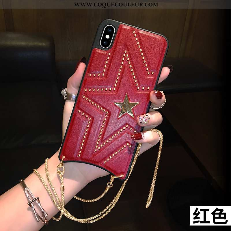 Housse iPhone Xs Max Silicone Cuir Téléphone Portable, Étui iPhone Xs Max Mode Rouge