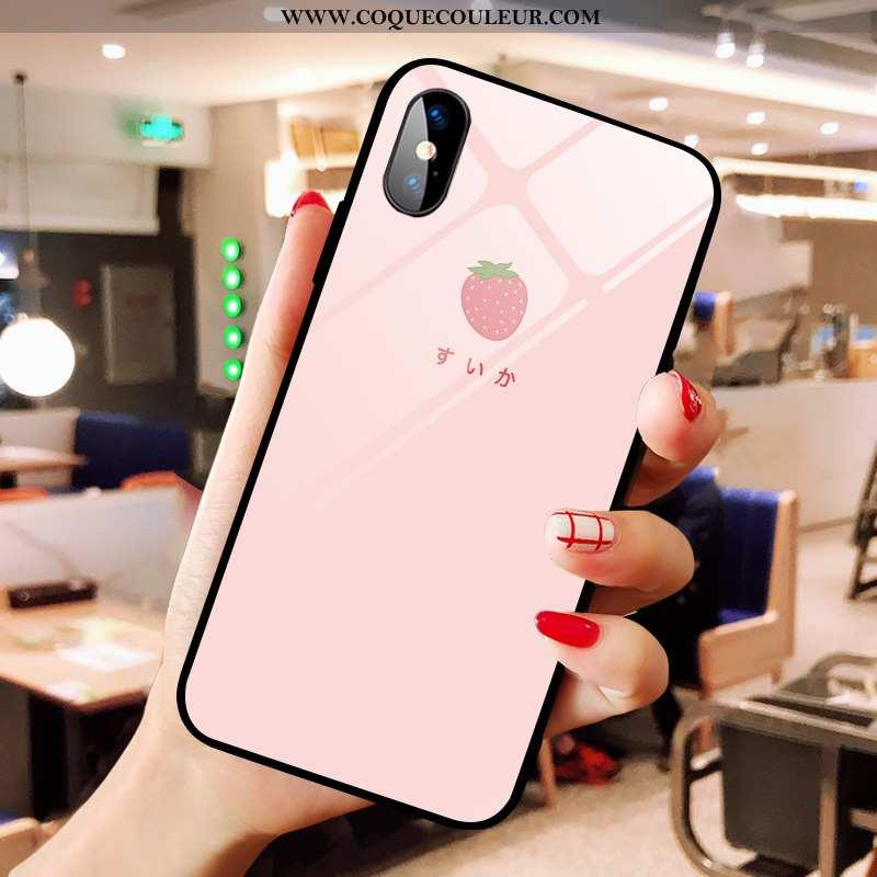 Coque iPhone Xs Max Dessin Animé Simple Frais, Housse iPhone Xs Max Verre Téléphone Portable Rose