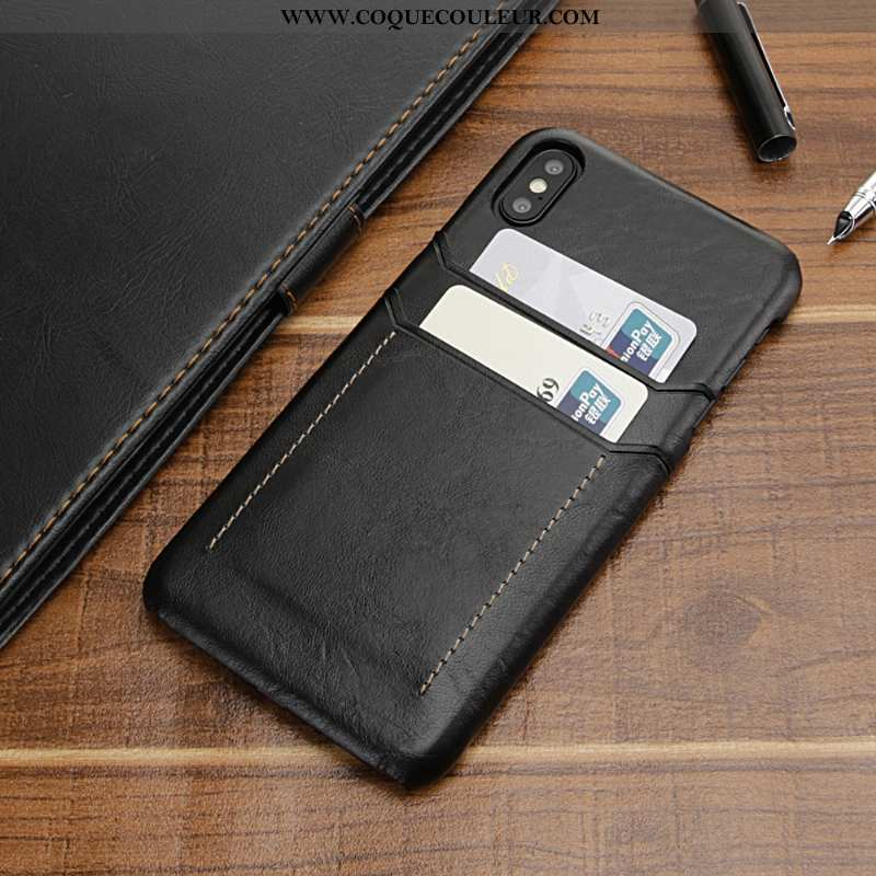 Housse iPhone Xs Max Protection Bovins Cuir, Étui iPhone Xs Max Luxe Luxe Noir