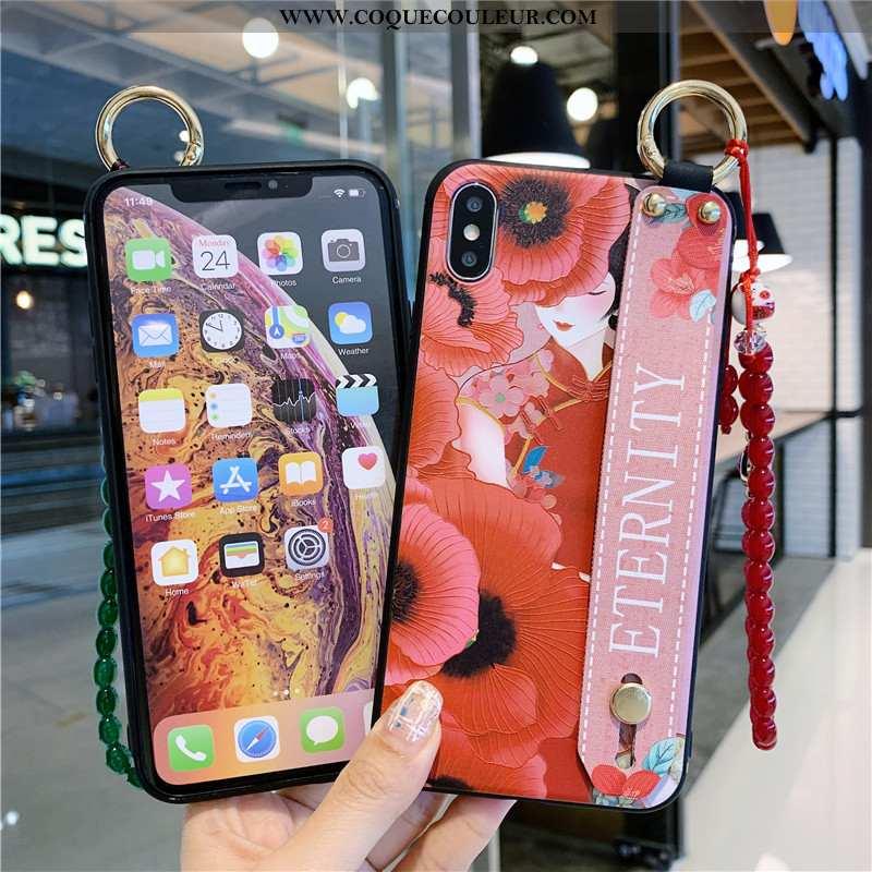 Étui iPhone Xs Max Ornements Suspendus Silicone Coque, Coque iPhone Xs Max Créatif Support Rouge