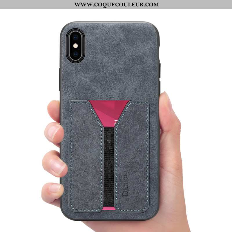 Coque iPhone Xs Max Portefeuille Gris, Housse iPhone Xs Max Cuir Téléphone Portable Gris