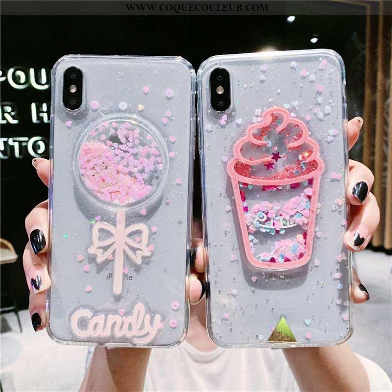 Housse iPhone Xs Max Fluide Doux Coque Rose, Étui iPhone Xs Max Transparent Téléphone Portable Blanc
