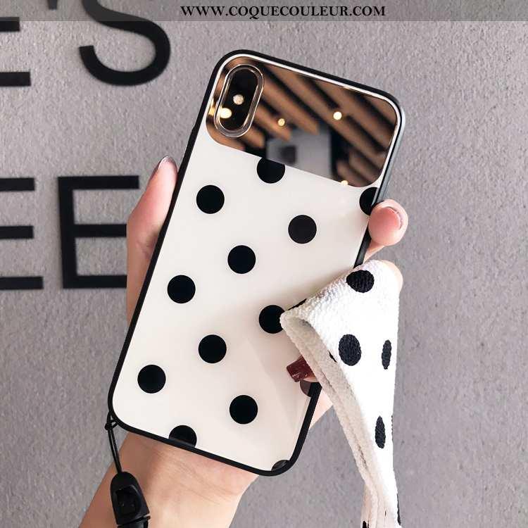 Housse iPhone Xs Max Verre Tendance Net Rouge, Étui iPhone Xs Max Ornements Suspendus Blanc Blanche