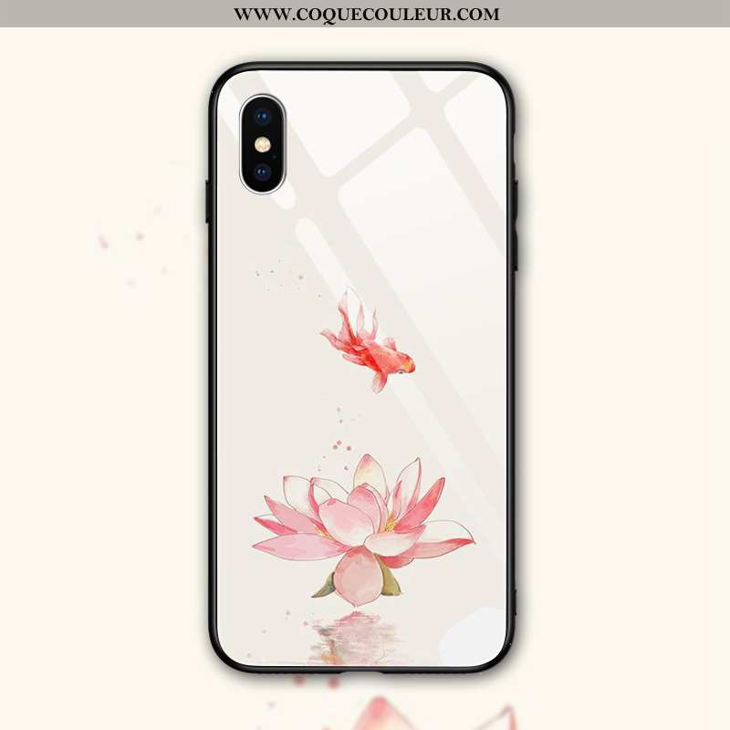 Étui iPhone Xs Max Fluide Doux Verre Miroir, Coque iPhone Xs Max Silicone Simple Rose