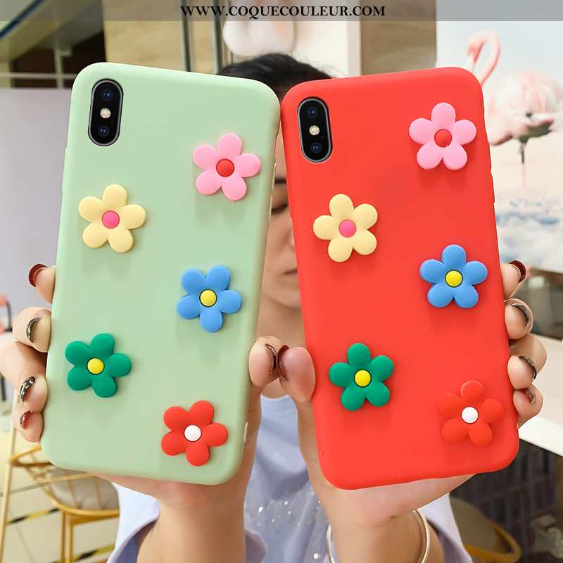 Housse iPhone Xs Max Dessin Animé Coque Fleur, Étui iPhone Xs Max Charmant Net Rouge Verte