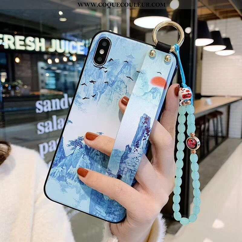 Étui iPhone Xs Max Silicone Bleu Créatif, Coque iPhone Xs Max Protection Fluide Doux
