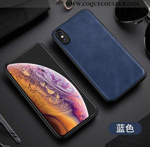 Coque iPhone Xs Max Vintage Incassable Silicone, Housse iPhone Xs Max Cuir Antidérapant Bleu