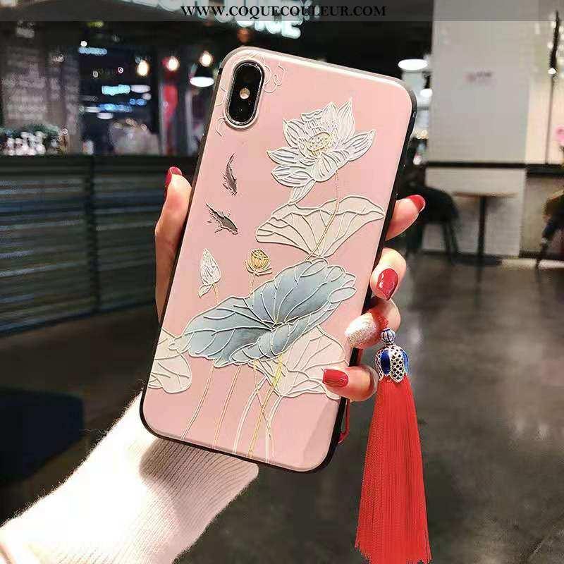Housse iPhone Xs Max Fluide Doux Tout Compris Luxe, Étui iPhone Xs Max Mode Rose
