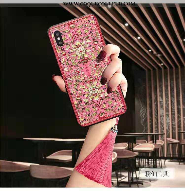 Étui iPhone Xs Max Gaufrage Luxe Tendance, Coque iPhone Xs Max Vintage Mode Rose