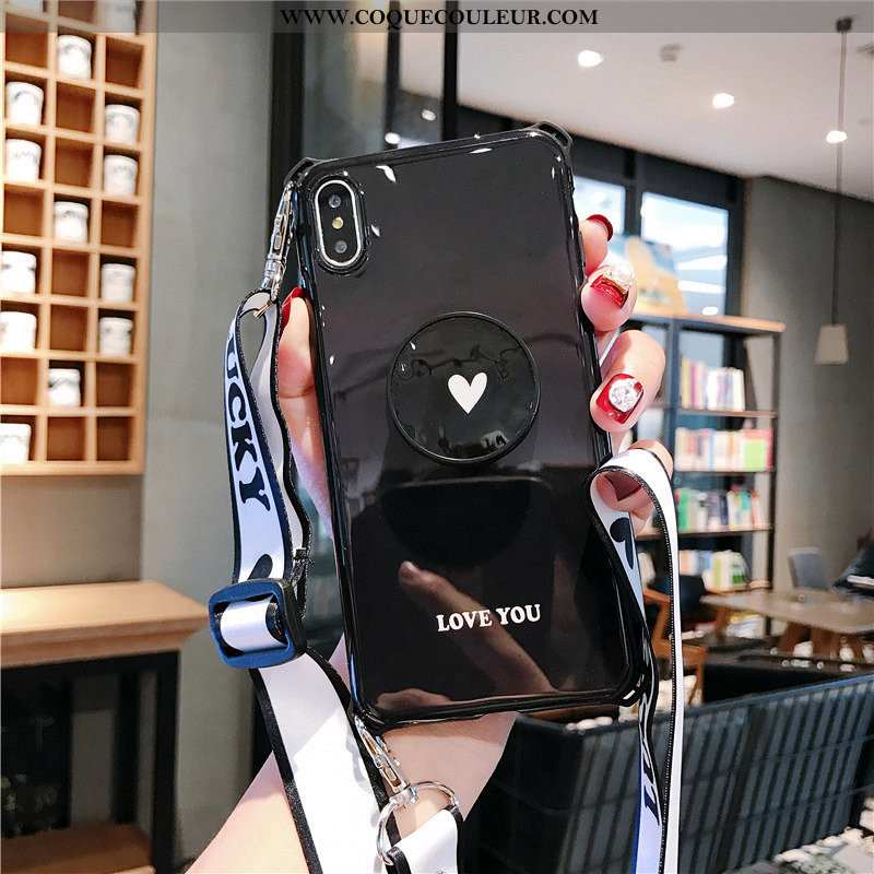 Étui iPhone Xs Max Ornements Suspendus Noir Tout Compris, Coque iPhone Xs Max Fluide Doux Petit