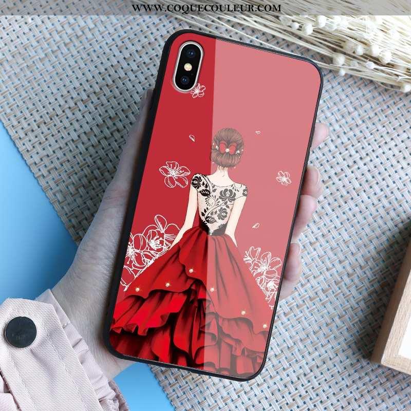Coque iPhone Xs Max Verre Miroir Coque, Housse iPhone Xs Max Téléphone Portable Beau Rouge