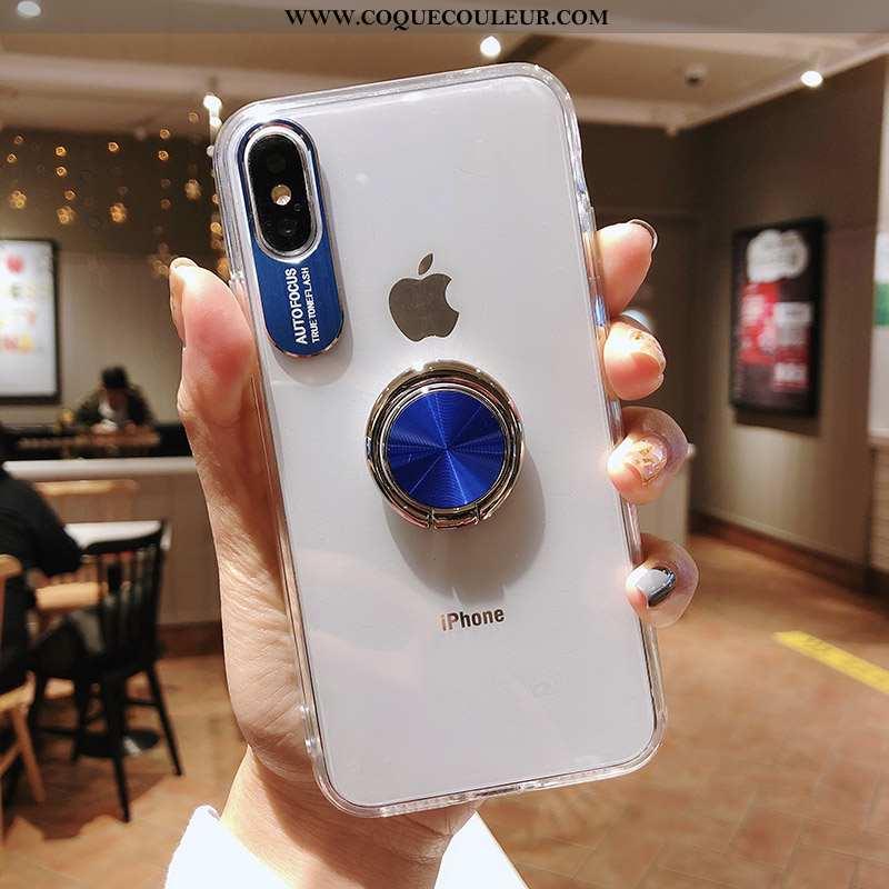 Housse iPhone Xs Max Transparent Une Agrafe À Bord, Étui iPhone Xs Max Créatif Bleu Foncé