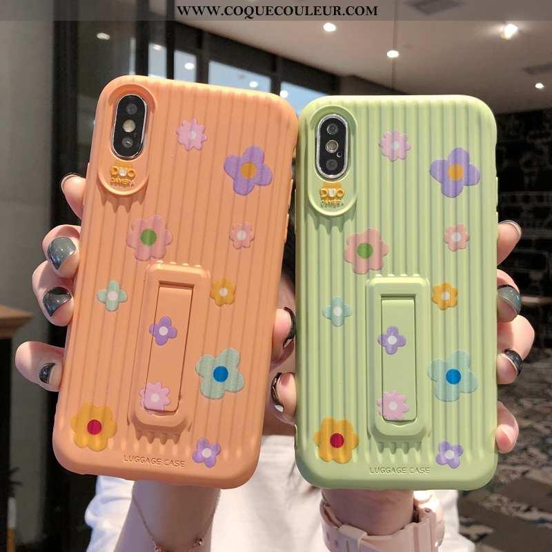 Étui iPhone Xs Silicone Créatif Modèle Fleurie, Coque iPhone Xs Personnalité Fluide Doux Verte