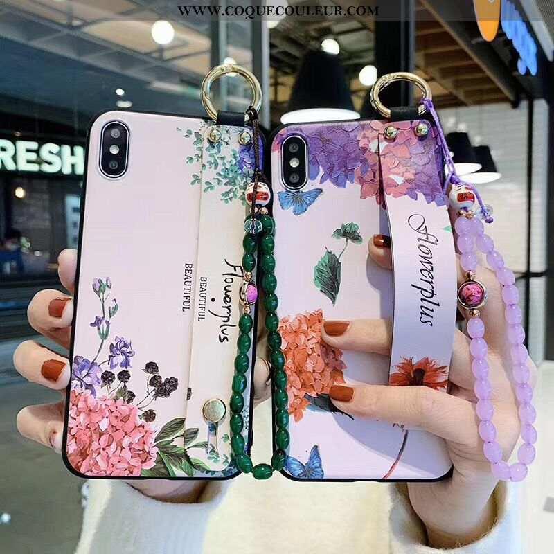 Étui iPhone Xs Protection Fleurs Bracelet, Coque iPhone Xs Vintage Style Chinois Violet