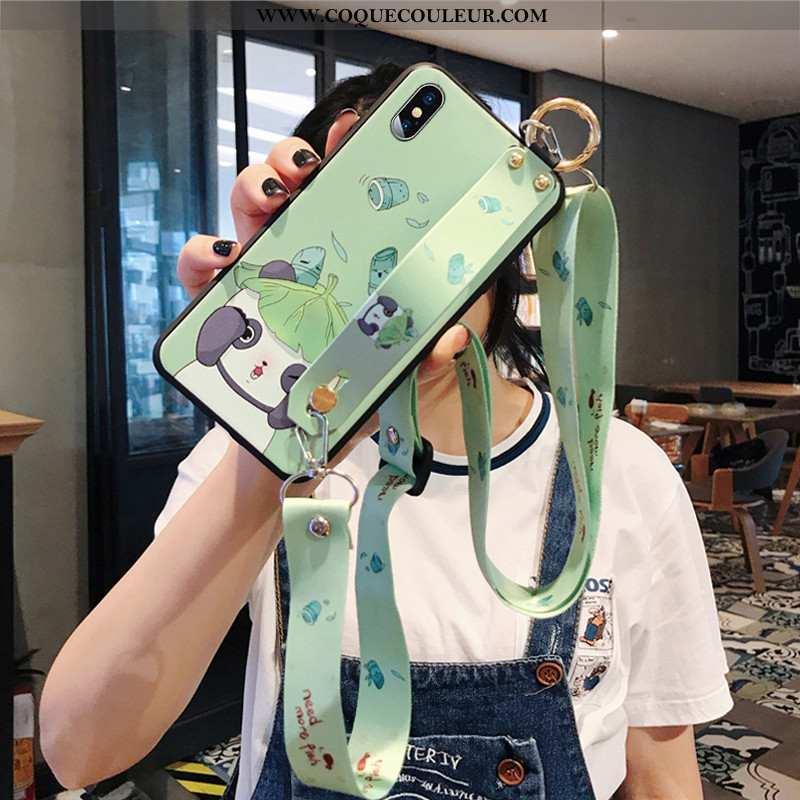 Housse iPhone Xs Dessin Animé Vert Fluide Doux, Étui iPhone Xs Tendance Téléphone Portable Verte