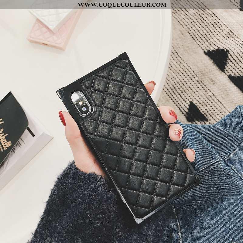Coque iPhone Xs Silicone Simple Étui, Housse iPhone Xs Protection Cuir Noir