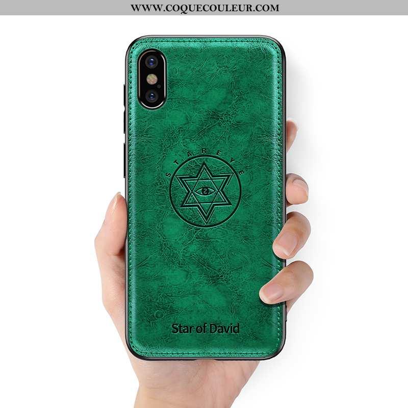Housse iPhone Xs Créatif Personnalité Silicone, Étui iPhone Xs Ultra Verte