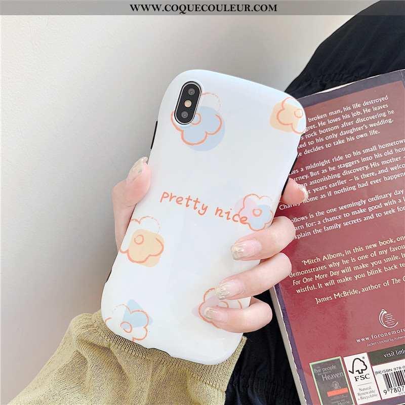 Étui iPhone Xs Fleur Petit Coque, Coque iPhone Xs Graffiti Blanc Blanche