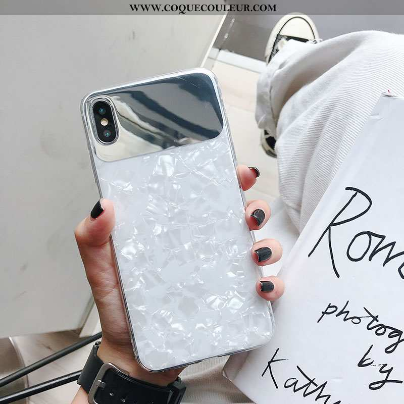 Housse iPhone Xs Modèle Fleurie Coquille Blanc, Étui iPhone Xs Coque Téléphone Portable Blanche