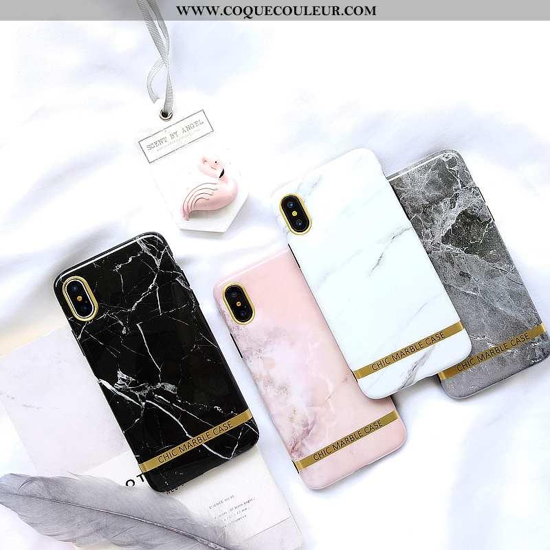 Housse iPhone Xs Tendance Grand Europe, Étui iPhone Xs Modèle Fleurie Clair Noir