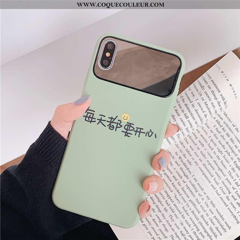 Housse iPhone Xs Fluide Doux Cœur Téléphone Portable, Étui iPhone Xs Silicone Coque Verte
